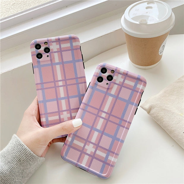 Baby Pink Grid Plaid Phone Case