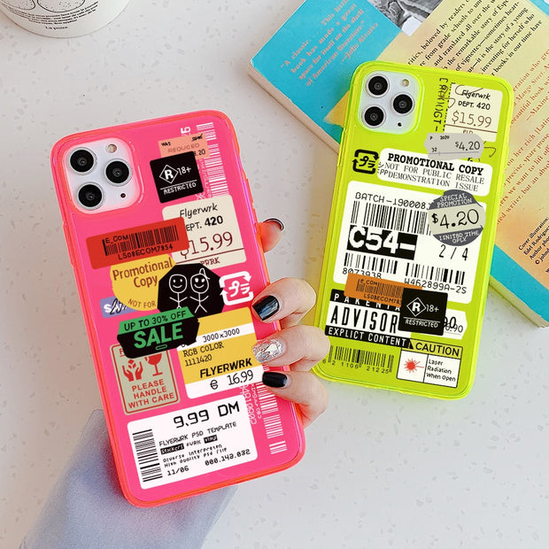 Fluorescent stamp label barcode Phone Case