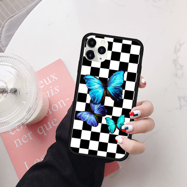 Blue Butterfly Checks Fitted Case