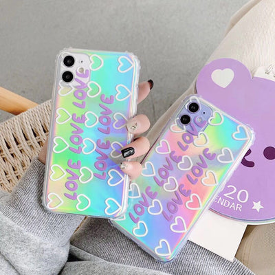Luxury Laser Love Heart Paper Phone Case