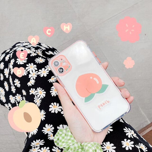 Summer Cherry Peach flowers Transparent Soft Phone Case