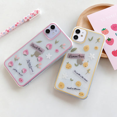 Lemon Peach Bling Glitter Cartoon Phone Case