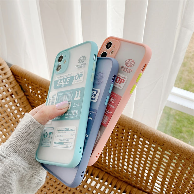Candy Clear Stamp Label Barcode Soft Phone Case