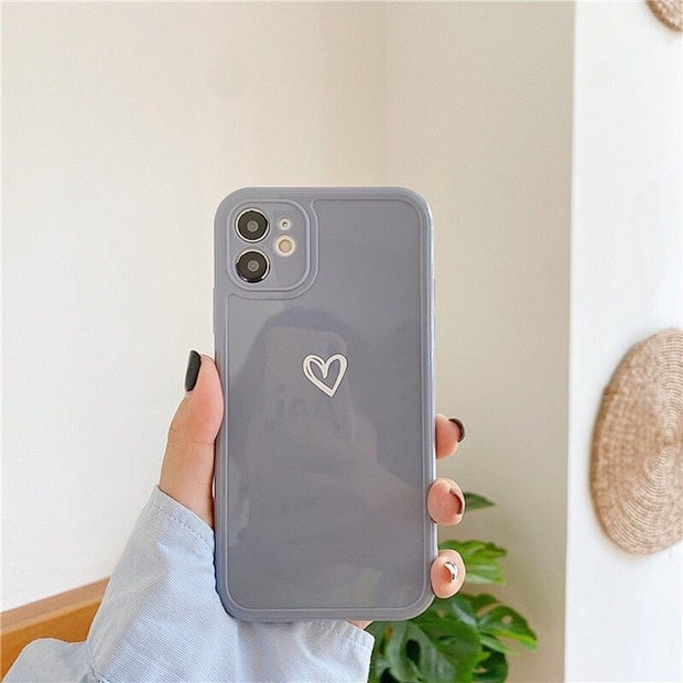 Candy Colors Love Heart Three-Dimensional Square Phone Case