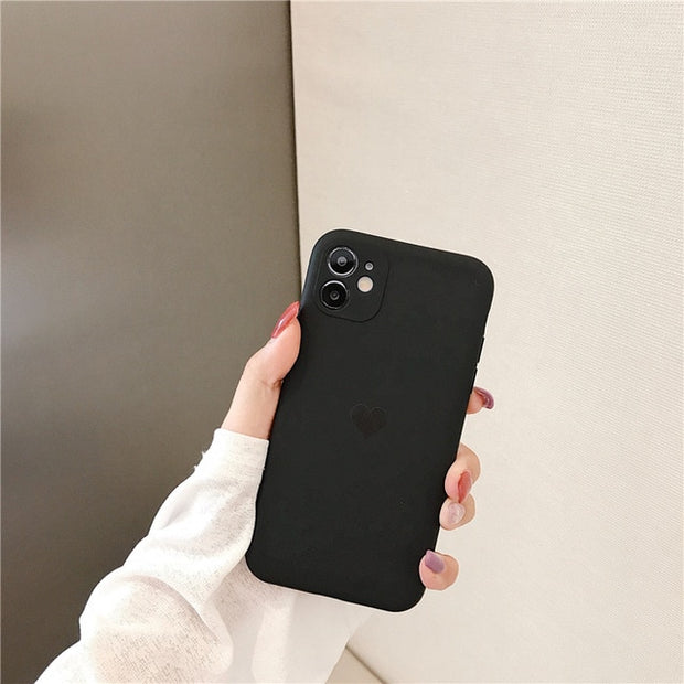 Frosted Lens Protection Silicone Heart Phone Case