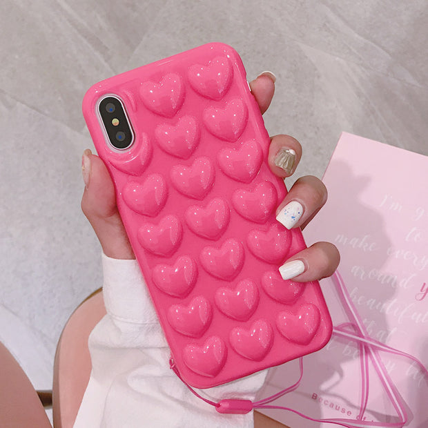 3D Heart Silicone Case in 4 Colors