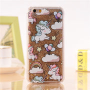 Cute Cartoon Unicorn Glitter Liquid | Phone Case