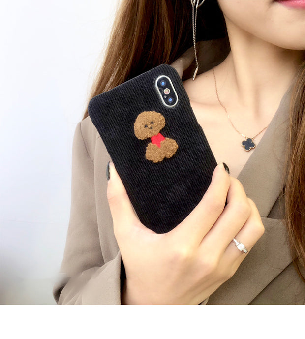 Super Cute Fabric Animals Phone Case | Teddy Dog Penguin Sheep | iPhone XSM/XS/X/XR/8/7/6