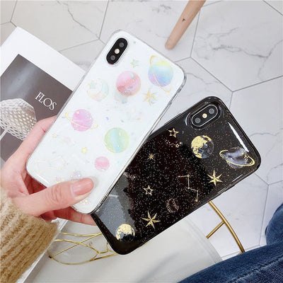 Colorful Universe Transparent Planet Star Case