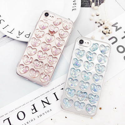 Glitter 3D Love Heart Phone Case