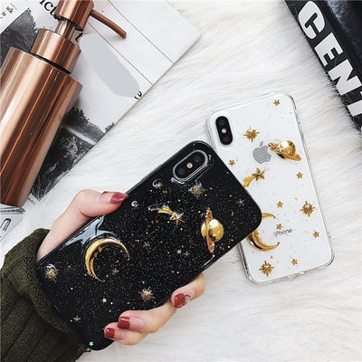 3D Glitter Saturn Stars Phone Cases | iPhone XSM/XS/XR/8/7/6