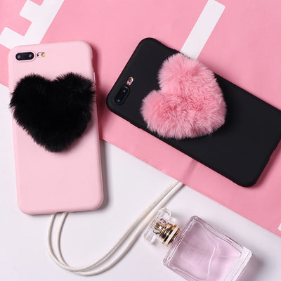 Fluffy Love Heart Candy Soft Case | iPhone