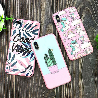 Colorful Art Leaf Phone Case with Pink Bumper | 4 Styles