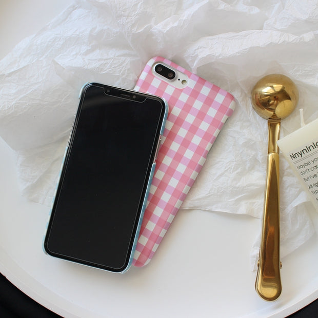 Baby Pink & Blue Plaid Hard Phone Case