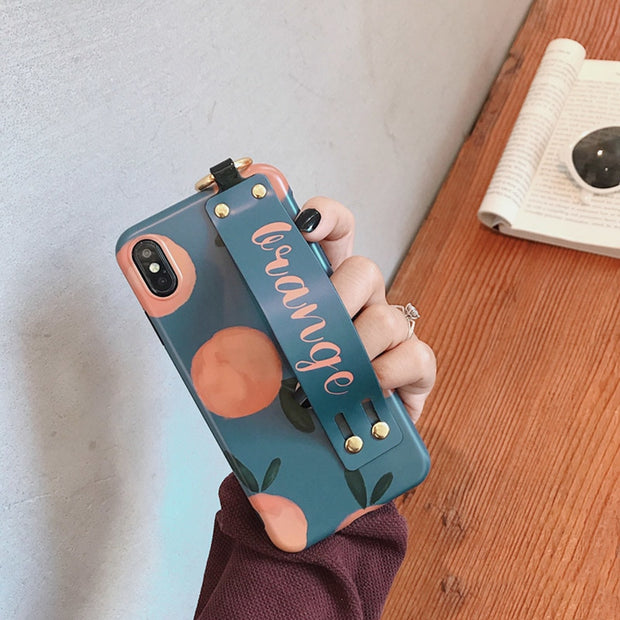 Retro Orange w/ Wrist Strap Case | iPhone XSM/XS/XR/8/7/6