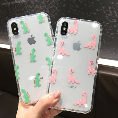 Cute Cartoon Dinosaur Transparent Soft Case