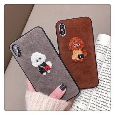Plush Embroidery Cartoon Dog Phone Case | iPhone XSM/XS/XR/8/7/6