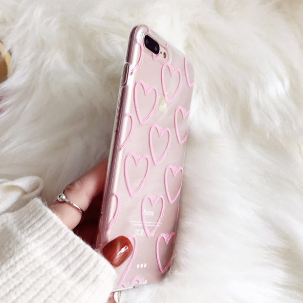 Pink Love Heart | Clear | iPhone XSM/XS/X/8/7/6