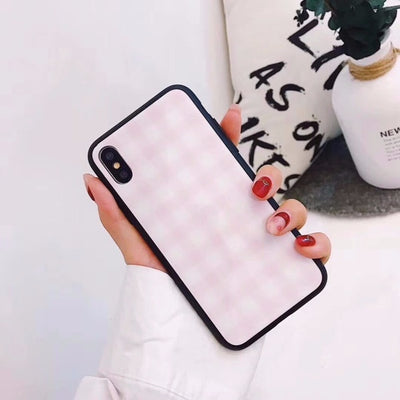Korean Plaid Glass Cover Hard Case | iPhone XS/8/7/6