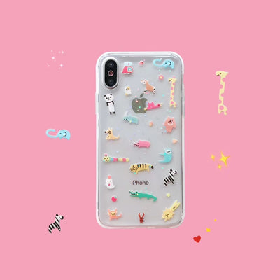 Korean Super Cute Zoo Soft Phone Case | iPhone XSM/XS/XR/8/7/6