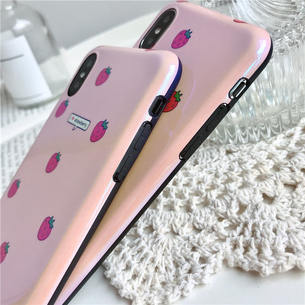 Kawaii Pink Strawberry Silicone Case | iPhone XSM/XS/X/XR/8/7/6