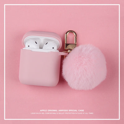 Fuffy Plush Keychain Silicone Airpods