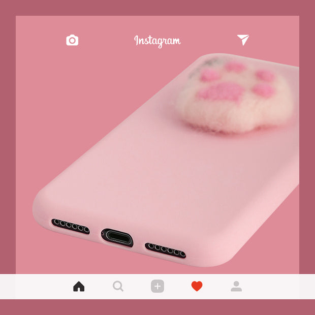 3D Cutest Cat Claw Fluffy Silicone Phone Case