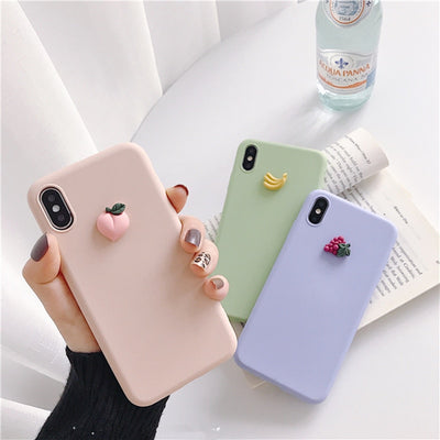 Cute 3D Fruits | Banana Peach Grape | Silicone Phone