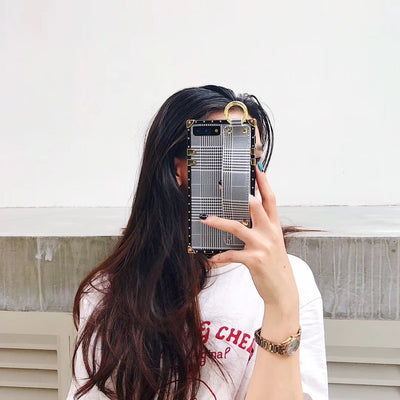 Luxury Grey Plaid Square Phone Case w/ Strap | iPhone XSM/XS/XR/8/7/6