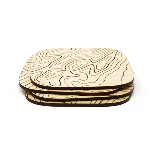 Basswood Topography Wood Coasters (Set of 4)