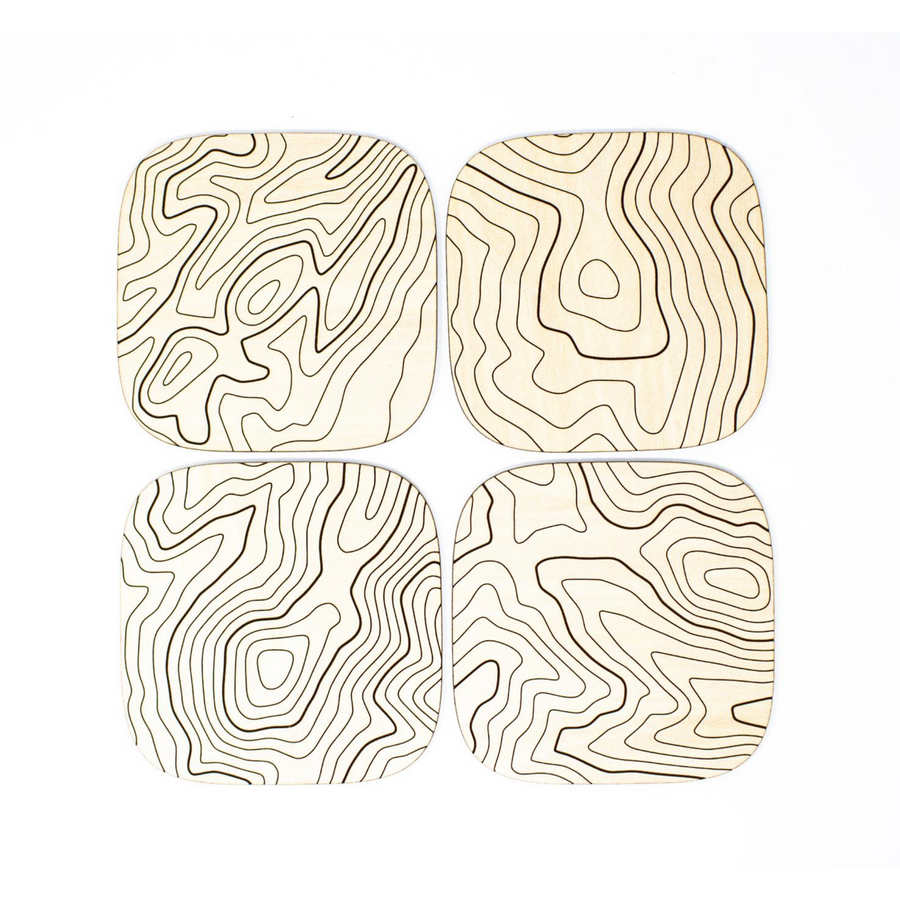 Basswood Topography Wood Coaster
