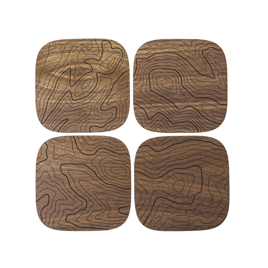 Walnut Topography Wood Coasters (Set of 4)