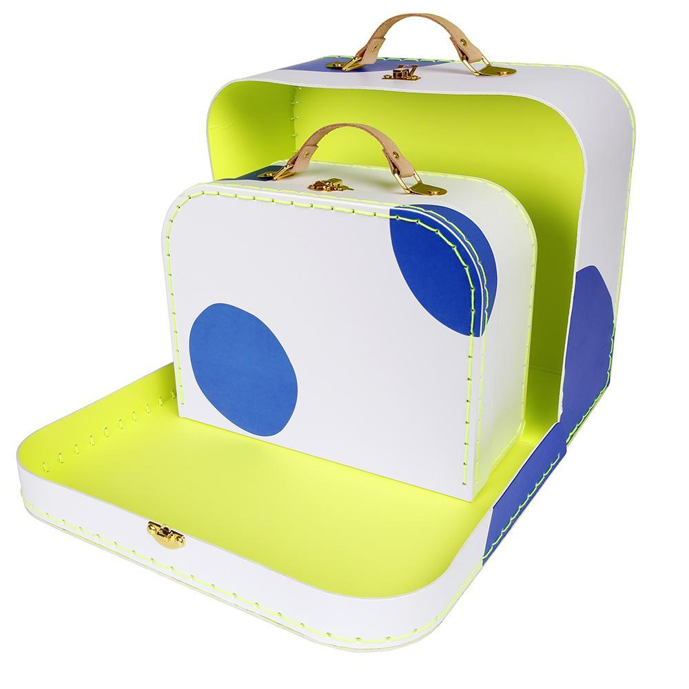 Set of 2 Blue Dot Suitcases