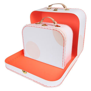 Set of 2 Pink Dot Suitcases