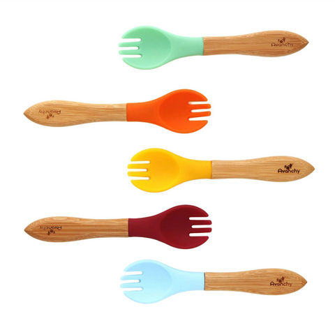 Bamboo and Silicone Forks - Set of 4