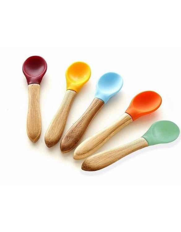 Bamboo and Silicone Spoons - Set of 4