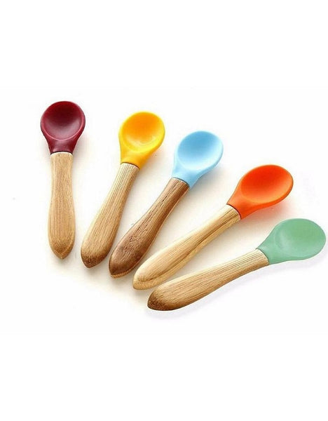Bamboo and Silicone Spoons - Set of 5