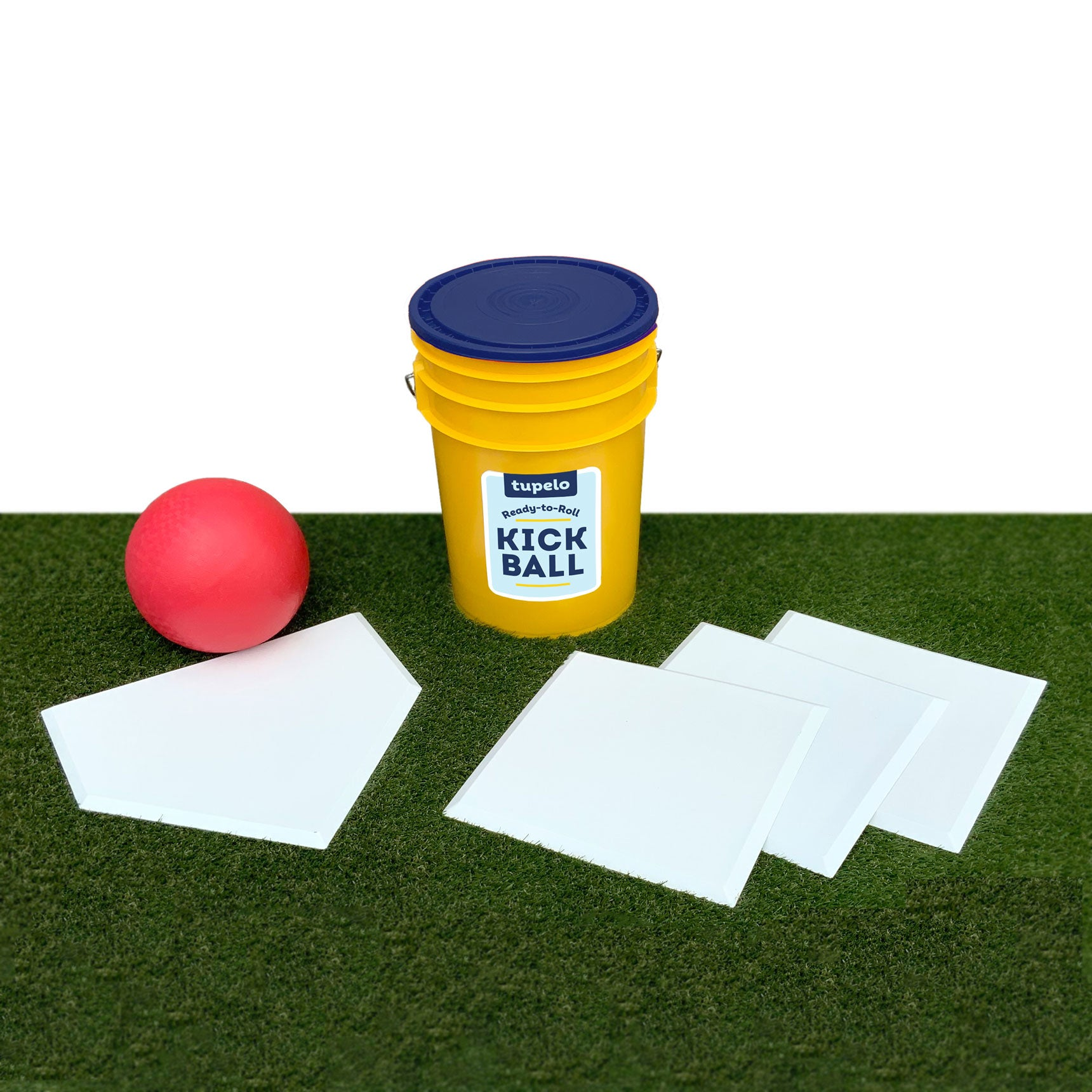 Tupelo Kickball Set includes heavy-duty throw down bases, home plate, a WACA ball, and a storage-friendly bucket