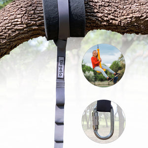 Hanging Kit for Swings that Includes Adjustable Tree Strap for Hanging and a Tree Protector. Shows compatibility with wide range of swings.