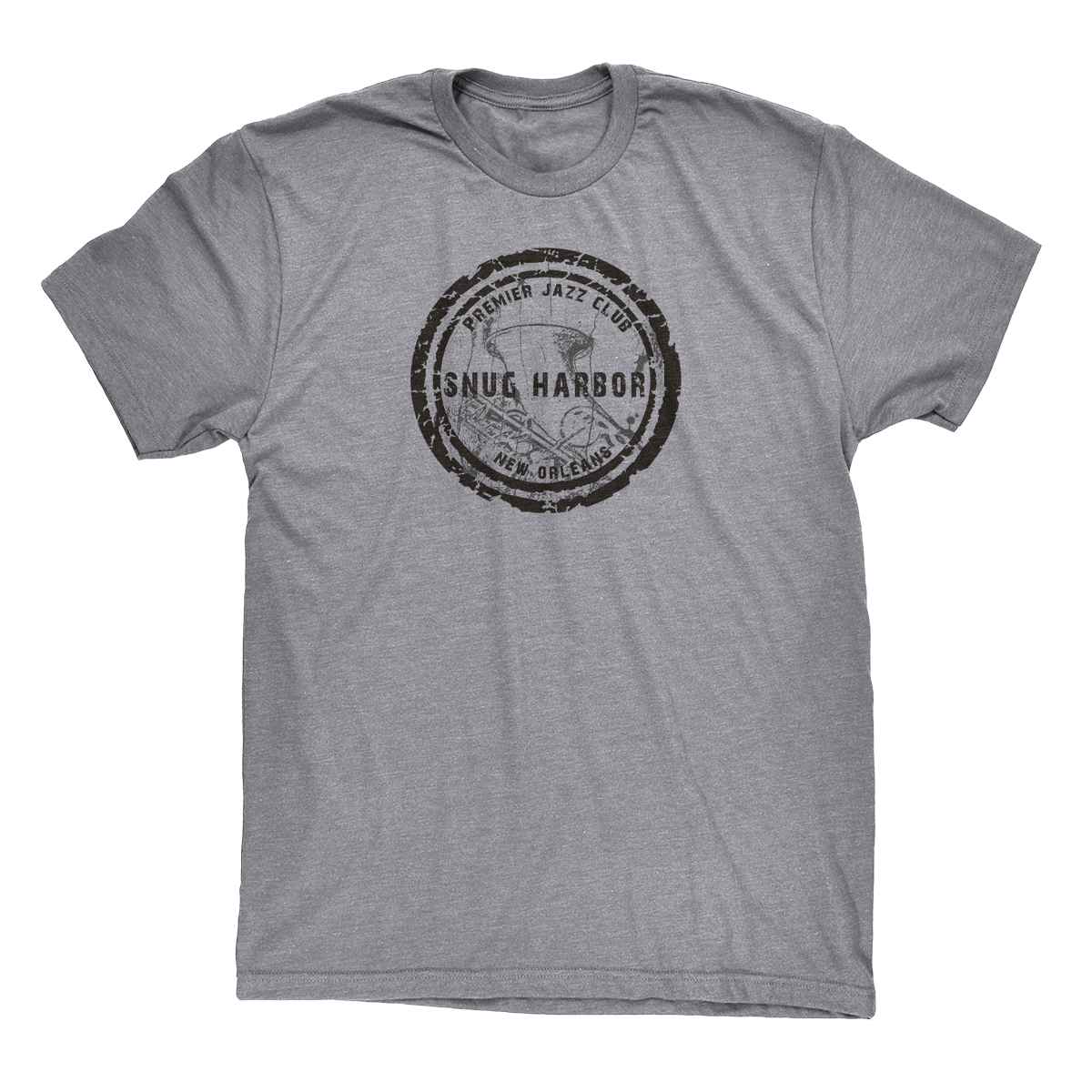 Snug Harbor Saxophone in the Round Heather Grey T-Shirt