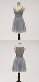 Pretty Grey Lace Top Chiffon A Line Short Homecoming Dress, BTW221