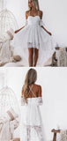 Unique White Lace Backless High Low Homecoming Dress, BTW222
