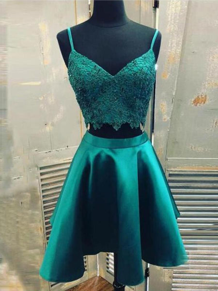 Elegant Two Pieces V Neck Lace A-line Short Homecoming Dress, BTW225