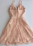 Pretty Spaghetti Strap Backless Pink Lace A-line Short Homecoming Dress, BTW226