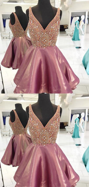 Gorgeous Deep V Neck Taffeta A Line With Rhinestone Short Homecoming Dress, BTW227