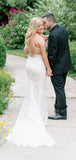 Sweetheart Mermaid Spaghetti Strap Lace Wedding Dresses,SW1166