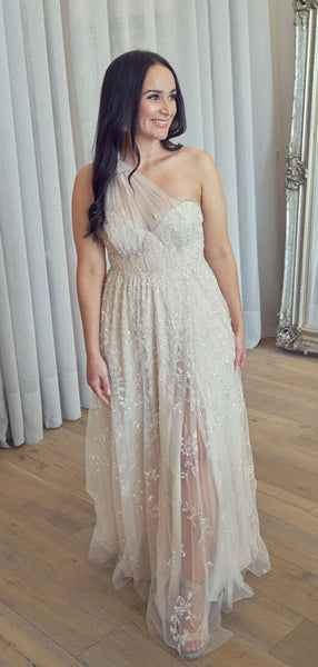 Simple Lace Sweetheart Sleeveless Side Slit Wedding Dresses,SW1169