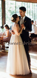 Pretty Sweetheart Tulle Lace A-line Long Wedding Dresses Evening Party Dresses, WD1122