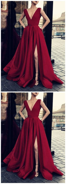 Cheap Burgundy Deep V Neck A Line Sleeveless Side Slit Long Prom Dresses, SW1020