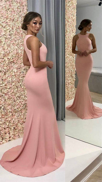 Simple Jewel Floor Length Elastic Satin Mermaid Long Prom Dresses ,MD376